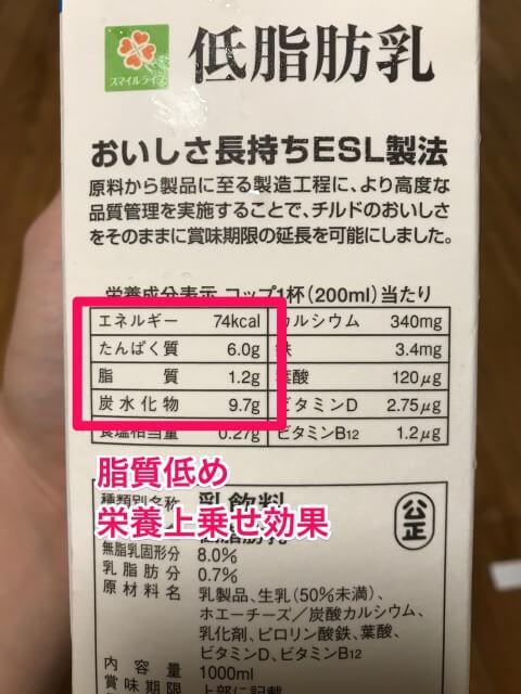 マイプロテイン抹茶味低脂肪乳栄養