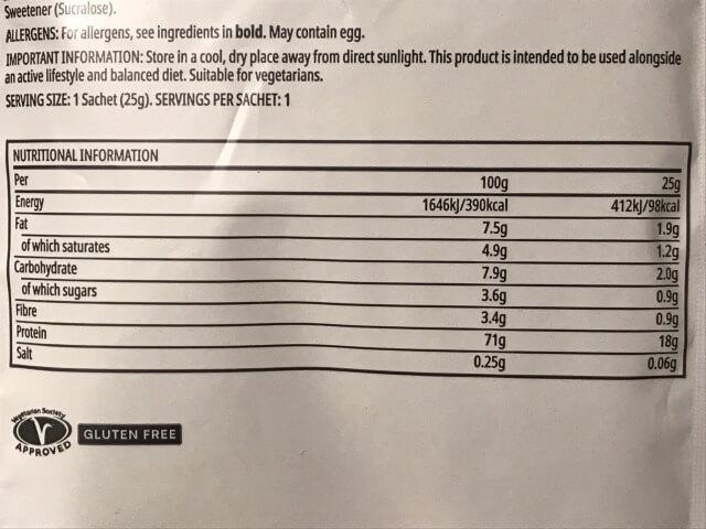 マイプロテインチョコレートブラウニー成分表