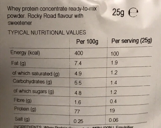 マイプロテインロッキーロード味成分表