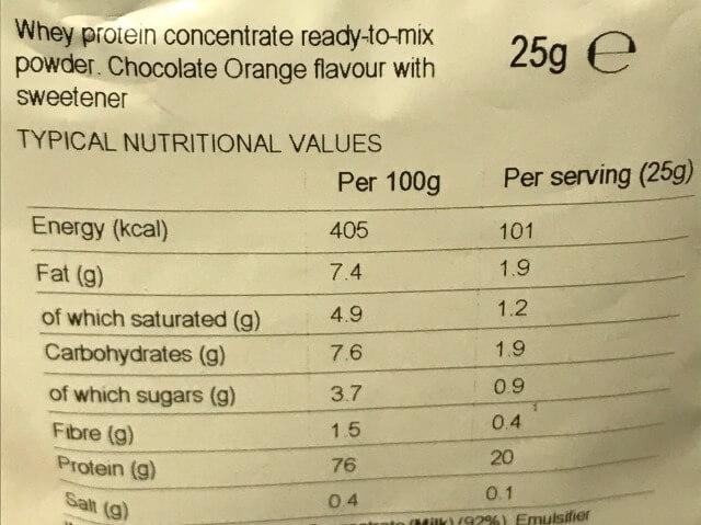 マイプロテインチョコレートオレンジ成分表