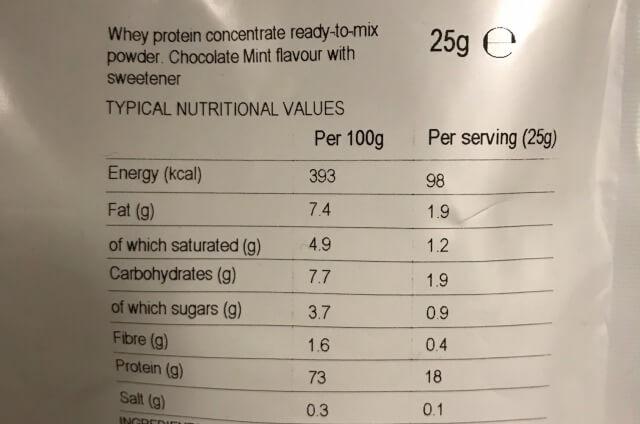 マイプロテインチョコレートミント味成分表